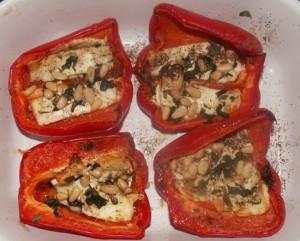 Geroosterde paprika met feta