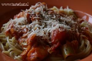 Pasta-met-artisjok en knoflook